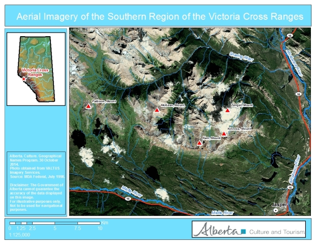 Aerial Imagery of the Victoria Cross Ranges showing the locations of the mountains named for recipients of the Victoria Cross.
