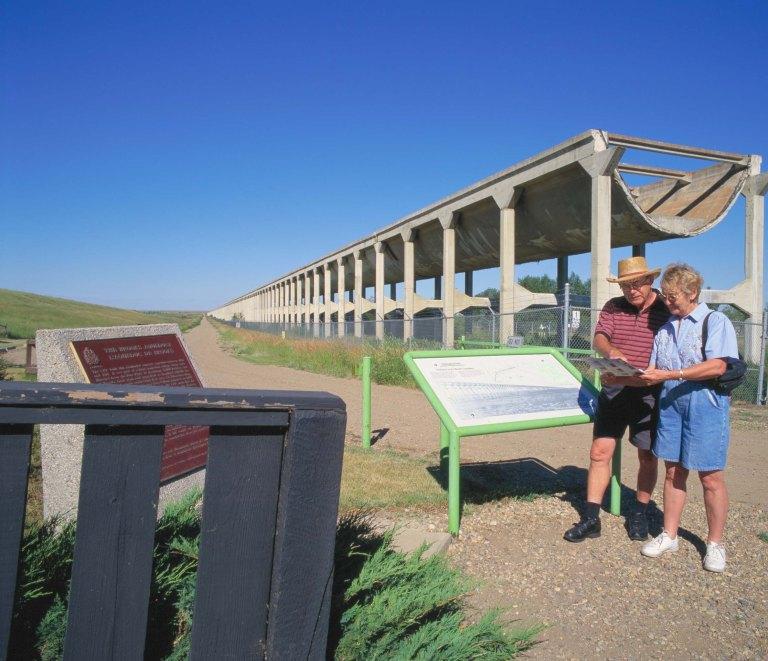 Visitors at the Brooks Aqueduct Historic Site. Photo Credit: Travel Alberta.