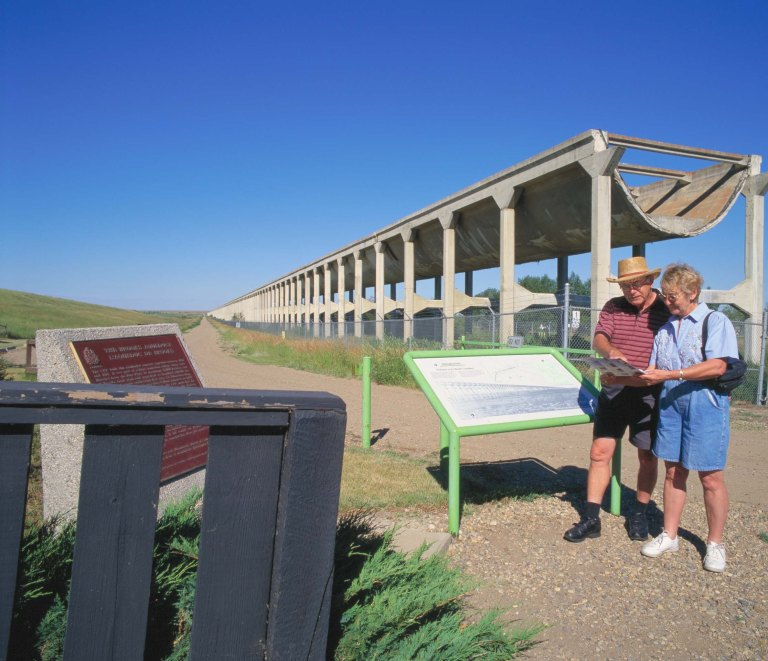 Visitors at the Brooks Aqueduct Historic Site. Photo Credit: Travel Alberta.