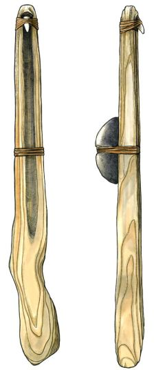 Figure 1. Atlatl and weight Amanda Dow