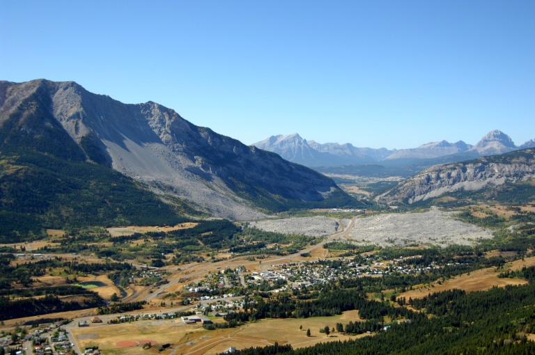 Turtle Mountain with rocks from the famous Frank Slide at its base. Photo credit: Frank Slide Interpretive Centre.