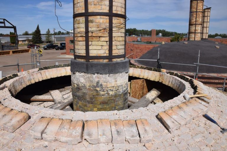 Disassembly of the fire brick dome at Kiln 2, Medalta Potteries, 31 August 2015.