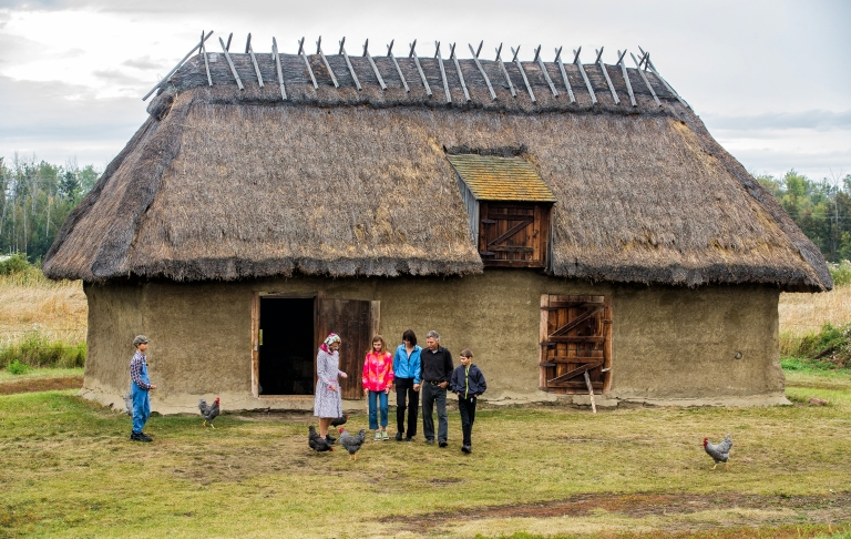 Visitors and costumed interpreters at the Ukrainian Cultural Heritage Village. Photo Credit: Travel Alberta.