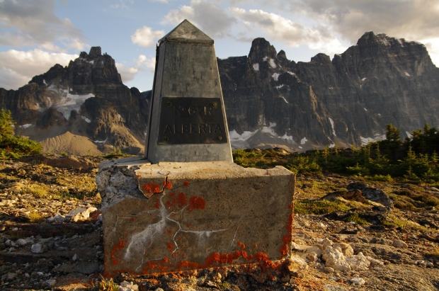 Provincial boundary cairn marking border between Alberta and British Columbia.