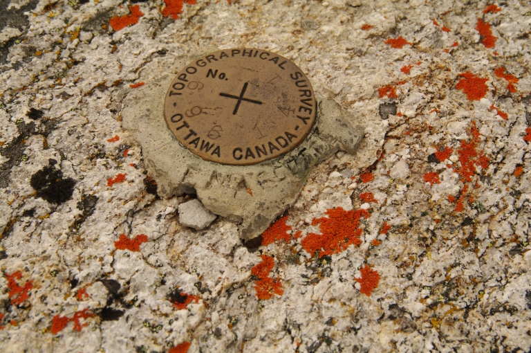 "Federal topographical survey marker, note the name carved on the side ""F. Marcott""."