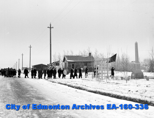 Procession/parade to service at Beverly Memorial, 11 November, 1938 (City of Edmonton Archives, EA-160-336).