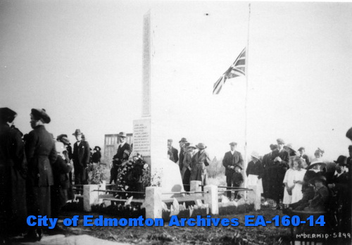 Newly unveiled Beverly Memorial, 17 October, 1920 (City of Edmonton Archives, EA-160-14)