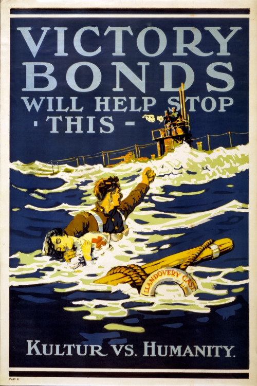 A 1918 Canadian poster using the sinking of the Llandovery Castle as a focal point for selling war bonds. (https://commons.wikimedia.org/wiki/File%3AVictory_bonds_(Llandover_Castle).jpg)