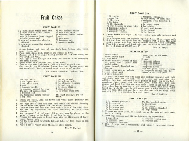 "Fruit cake recipes from St. Basils Ukrainian Catholic Women's League book, ""Culinary Treasures."""