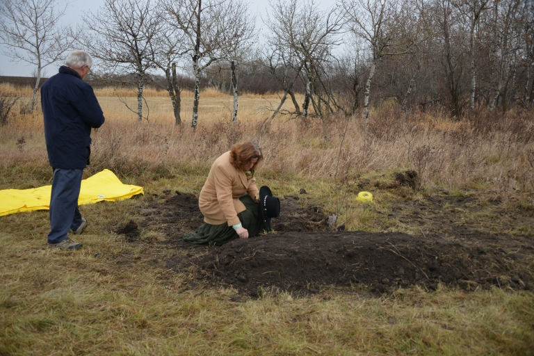 Forensic anthropologist, Pamela Mayne-Correia, at the reburial site.