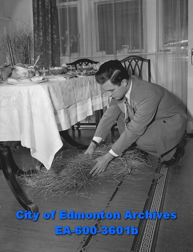 Ukrainian Christmas: Roman Yanda works on nativity scene. January 6, 1950. Photo: Laddie Ponich. From City of Edmonton Archives, EA-600-3601b.