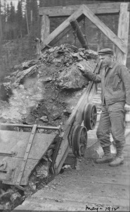 A worker dumping a load of coal through the tipple, May 1912 (Photo Credit: Provincial Archives of Alberta, Edmonton, PR1991.0312 A19992).