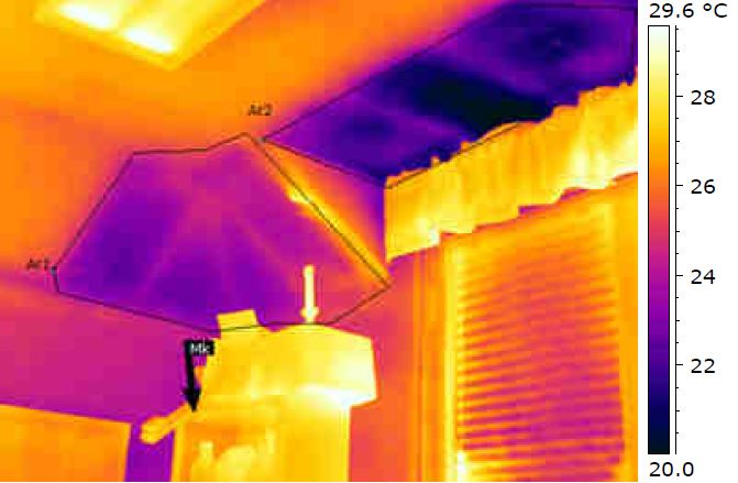 Infrared thermography of dormer interior with cold (damp) areas appearing as dark zones and hidden framing telegraphing through the uninsulated plaster (Photo Credit: Infrared Diagnostic Imaging & Leak Detection and RKH Architecture).