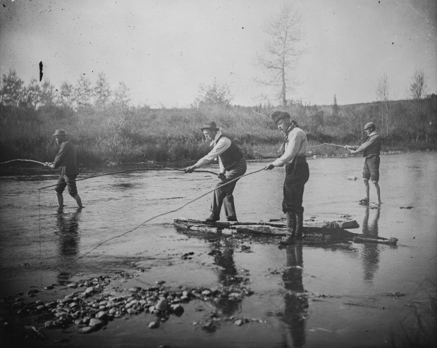 Four men fishing, 1900 (Photo Credit: Provincial Archives of Alberta, A8127)