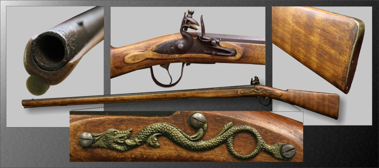 An 1805 Barnett flintlock trade musket that came to be one the most popular Northwest Trade guns. Over 20 000 guns were sold out of Canada's major fur trade depot at York Factory from 1600 to the late 1700s. Figure by Todd Kristensen and Julie Martindale.