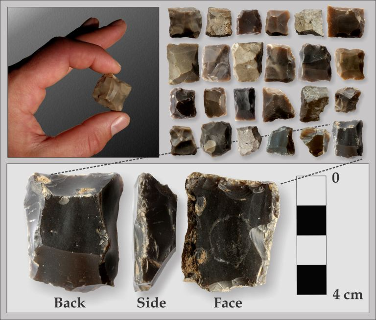 Gunflints are found across Alberta at fur trade sites. This collection is from Fort Dunvegan in northwest Alberta. Figure and photographs by Todd Kristensen and Julie Martindale.