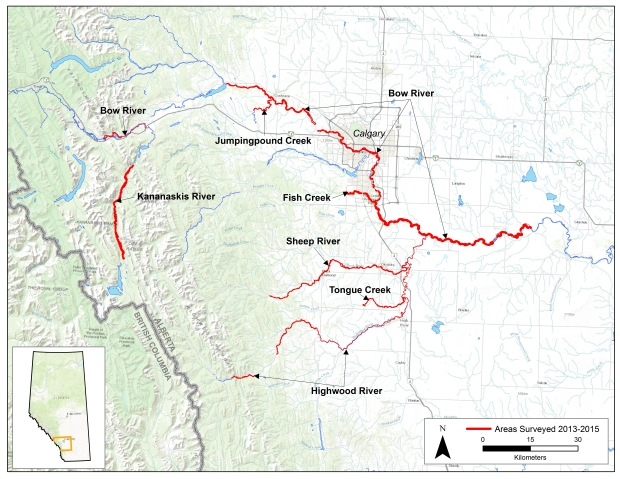 The extent and location of the 2013-2015 archaeological survey carried out on flood-affected creeks and rivers.