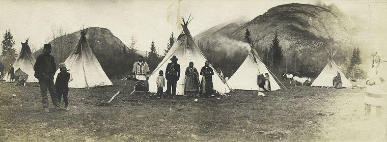 "The Miriam and Ira D. Wallach Division of Art, Prints and Photographs: Photography Collection, The New York Public Library. ""Indian camp at the foothills of the Rockies, Alberta."" New York Public Library Digital Collections. Accessed March 10, 2016. http://digitalcollections.nypl.org/items/510d47dc-4569-a3d9-e040-e00a18064a99"