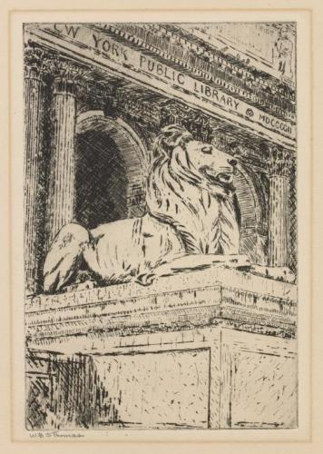 "The Miriam and Ira D. Wallach Division of Art, Prints and Photographs: Print Collection, The New York Public Library. ""Sculptured lion in front of N.Y.P.L."" New York Public Library Digital Collections. Accessed March 10, 2016. http://digitalcollections.nypl.org/items/620a3d58-fe41-dc81-e040-e00a18060f0c"