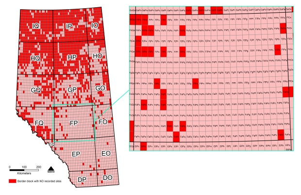 There are 17 major Borden block grids represented in Alberta (shown on the left); these are further divided into minor Borden blocks (shown on the right) of which there are a total of 3438 in Alberta.