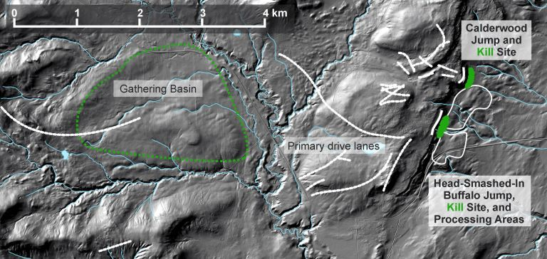 Figure 5. The cultural landscape of Head-Smashed-In Buffalo Jump encompasses a huge gathering basin that was likely burned several months in advance to produce lush grass that attracted buffalo. They were then lured to long drive lanes that corralled them toward cliff faces that offered the illusion of continuing prairies.