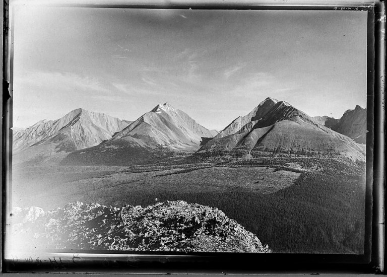 Mount Engadine (left), The Tower (middle) and Mount Galatea (right), taken in 1916 by the Interprovincial Boundary Survey. Mount Engadine and Mount Galatea are named for Royal Navy vessels that fought at the Battle of Jutland, the seaplane carrier HMS Engadine and the light cruiser HMS Galatea.