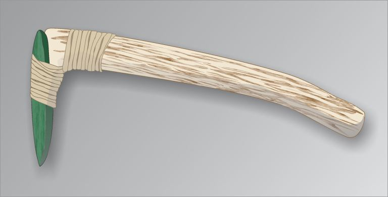 A large spur on the end of a wood or antler handle served as a platform on which to tie or 'haft' a flat celt (by Todd Kristensen).