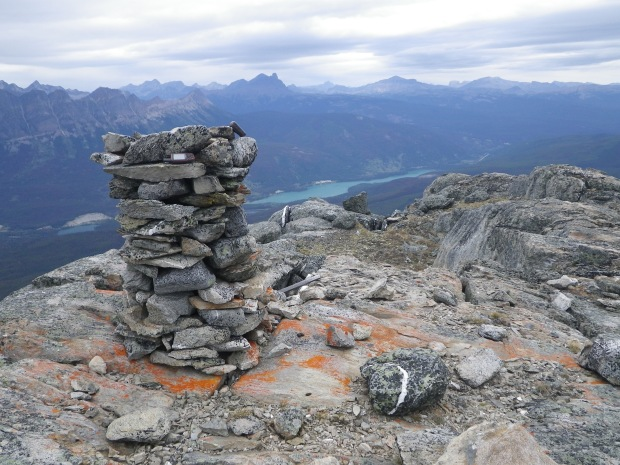 Historic cairn on Waddington Peak (Photo Credit: Aaron Osicki).