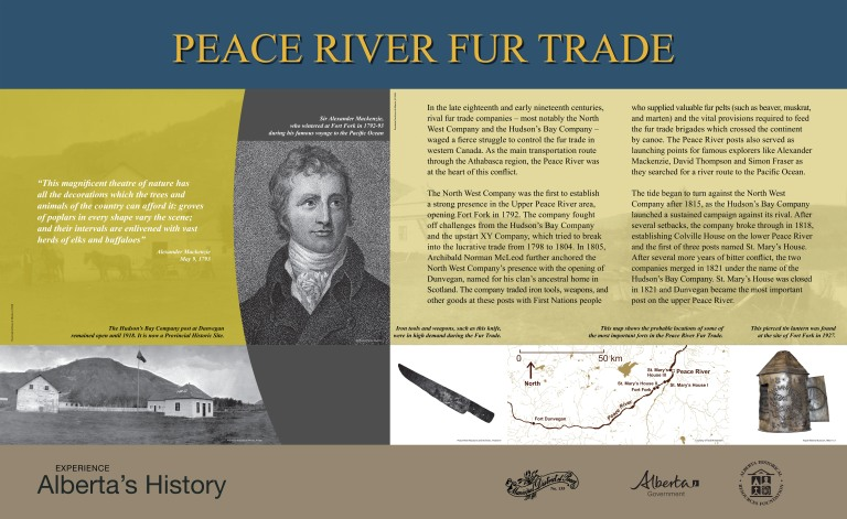 New Peace River Fur Trade Heritage Marker at the site of McLeod's Fort Cairn on Highway 684 in the Municipal District of Peace No. 135.