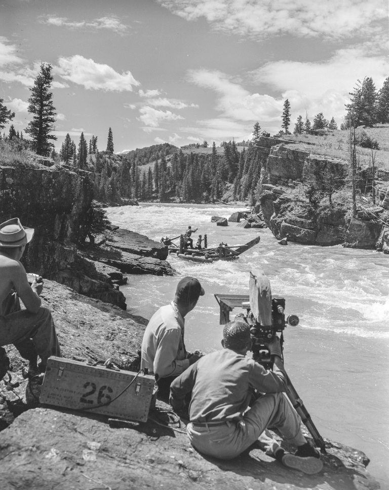 Filming 'River of No Return' in 1953, three of four wooden rafts were lost to the rocks and rapids of the Maligne, Snake Indian and Bow Rivers in Jasper and Banff. (Photo Credit: Provincial Archives of Alberta PA3057.3)