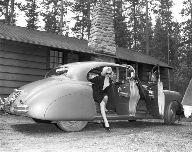 Marilyn Monroe in the Canadian Rockies for the filming of 'River of No Return', 1953. (Photo Credit: Provincial Archives of Alberta PA3057.7)