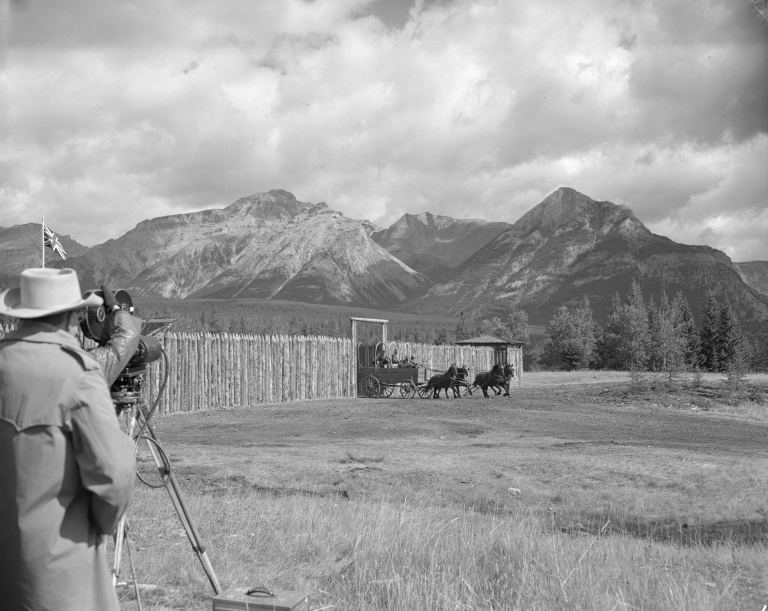 Filming 'Saskatchewan' in Banff, 1953. A replica fort was built at the abandoned coal mining town of Bankhead. (Photo Credit: Provincial Archives of Alberta PA721.2)