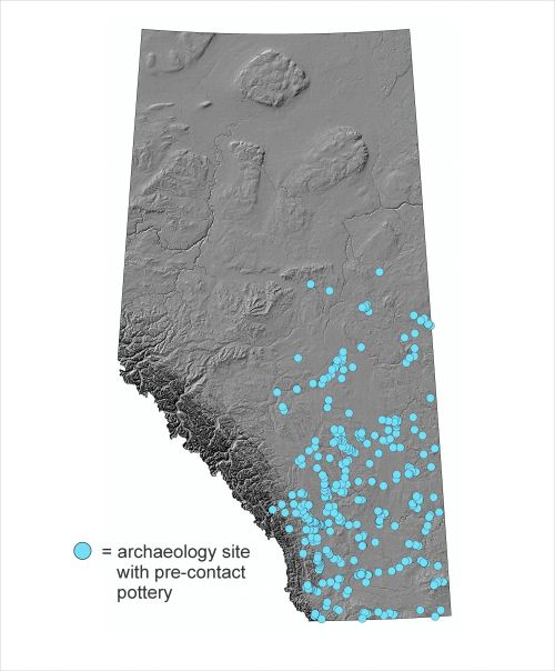Map of archaeology sites in Alberta where pre-contact pottery sherds have been discovered.