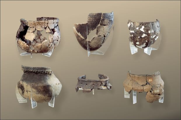 A variety of re-constructed pre-contact vessels from Alberta (individual images courtesy of the Royal Alberta Museum). Most pottery appears in archaeological sites as small broken fragments.