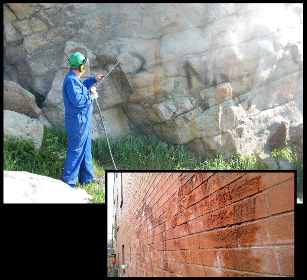 "A qualified contractor and Historic Resources Management Branch staff remove graffiti from the ""Big Rock"" erratic west of Okotoks, a Provincial Historic Resource. Below, graffiti removal from a 1912 building leaves eroded mortar joints and permanently pitted historic brick."
