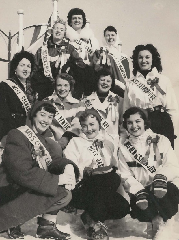 Ten regional queens pose amid competition (1955) to be the 1956 Queen of the Banff Winter Carnival. (Photo Credit: ??)