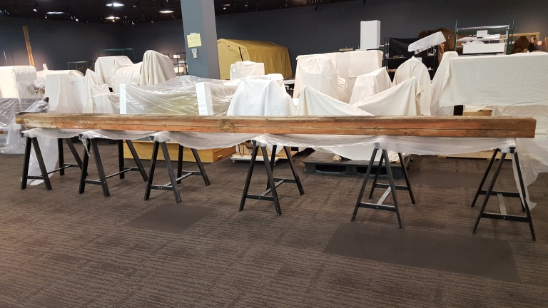 Full length of the Walter Barn timber (taken by author Jan 2017, Royal Alberta Museum).