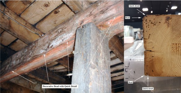 Left - Walter Barn (main floor), historic timber used as a structural loft support beam for the 2nd floor – note the decorative bead moulding and quirk detail that runs the full length of the timber (taken by author, February 2009); Right - Cross section of the Walter Barn timber demonstrating decorative bead moulding and quirk detail (taken by author Jan 2017).