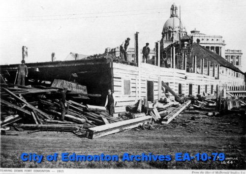 Demolition of Fort Edmonton (1915), City of Edmonton Archives EA-10-79.