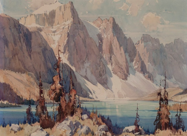 Moraine Lake by A.C. Leighton (Undated). Watercolour. Source: Alberta Foundation for the Arts collection.