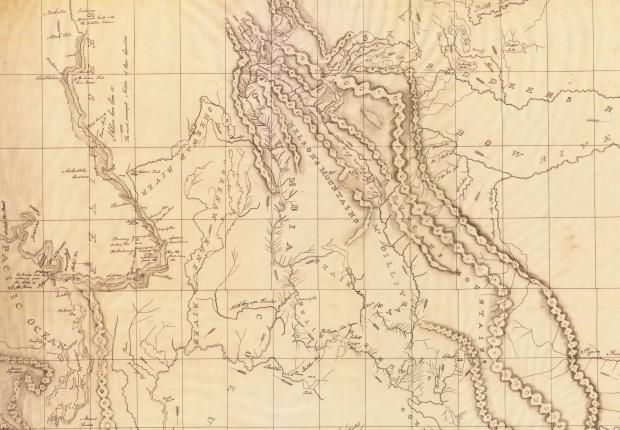 Excerpt of David Thompson's map from 1843 showing his depiction of the Rocky Mountains and the passes through them en route to the Pacific Ocean. Thompson's progress was heavily influenced by First Nations who sought to control the movement of people and goods across the Northern Rockies (Map of the North West Territory of the Province of Canada by David Thompson, 1843. Library and Archives Canada NMC 44302).