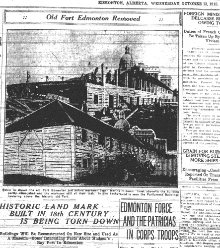 """Historic Landmark Built in 18th Century is Being Torn Down."" Edmonton Journal, 13 October 1915, vol. 12, no. 78."