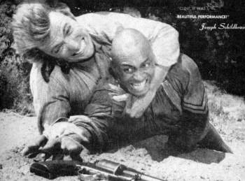 "Woody Strode with Clint Eastwood in Rawhide episode ""Incident of the Buffalo Soldier."" Image from: http://www.blackpast.org/aaw/strode-woody-1914-1994, public domain."