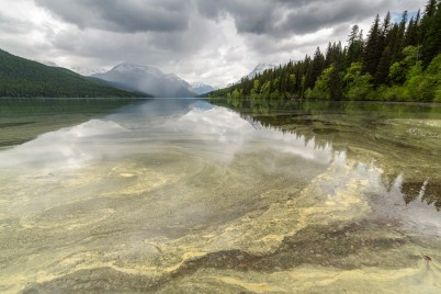 Pollen that has been carried by the wind gets 'stuck' on the surface of the lake, and gets deposited with the rest of the sediment at the bottom of the lake. Glacier NPS image Public domain Mark 1.
