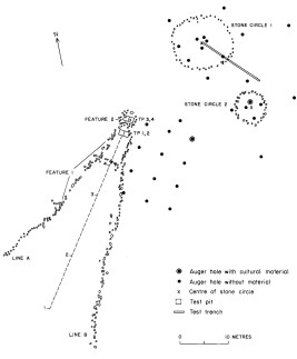 Plan map of the Laidlaw Site, from Brumley 1984. Excavation was carried out in the rectangular stone enclosure and pronghorn bone was recovered.