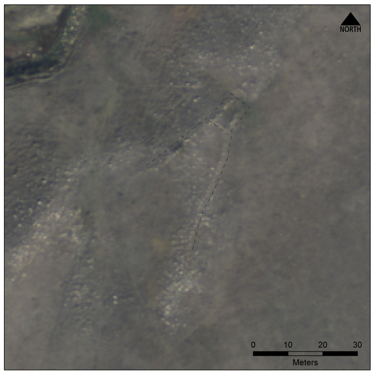 The Laidlaw Site, DlOu-9. Note the v-shaped drive lines that meet the corners of a rectangular stone enclosure.