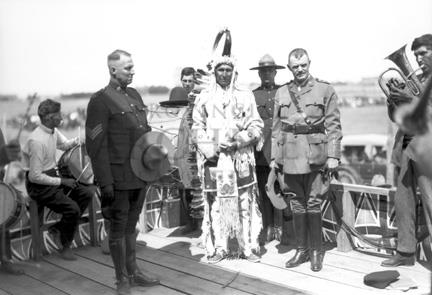Joe Mountain Horse, being awarded medal at McLeod after return from World War, 1914 - 1918. Provincial Archives of Alberta, P198.