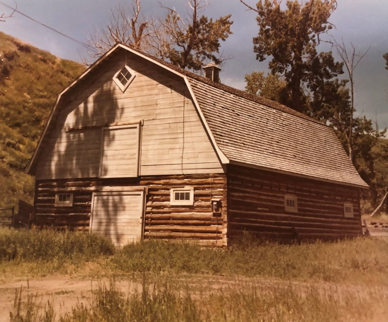 Doukhobor barn, constructed in 1939, and located approximately 5 kilometres east of Cowley. Photo taken in 1973.