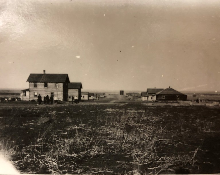 Village of Anastasia, near Shouldice Alberta, 1927.