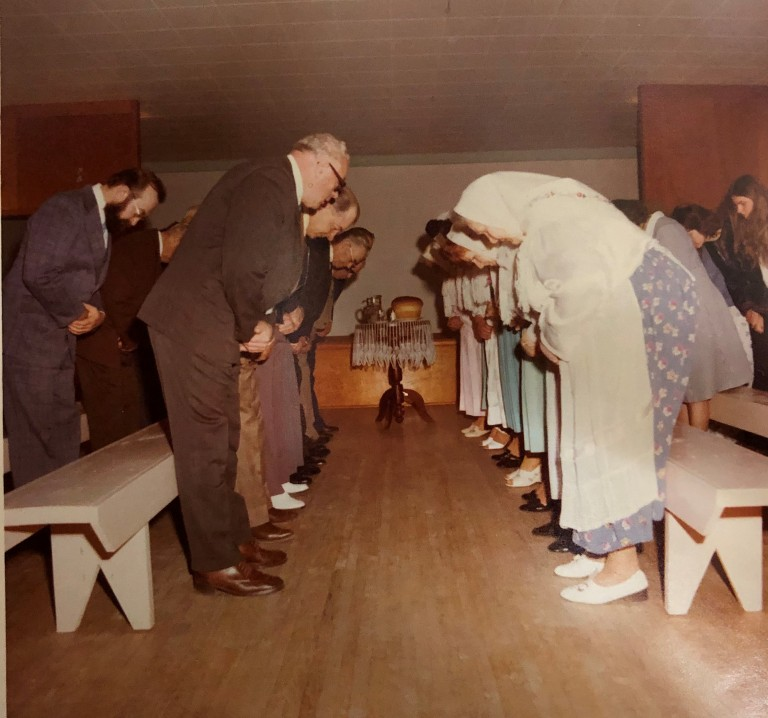 Prayer service in the Doukhobor Prayer Home, 1977.